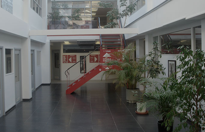 Le hall d'entrée de Brussels Office Factory